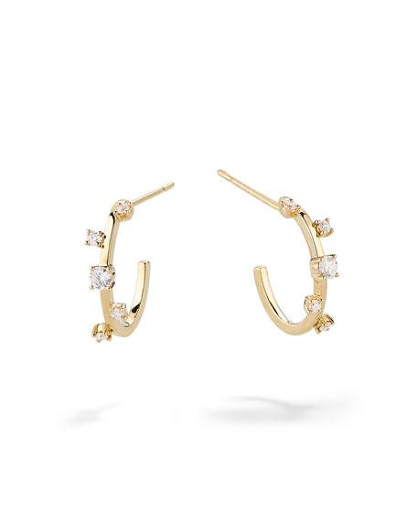 Lana 14k Gold & Diamond Solo Hoop Earrings
