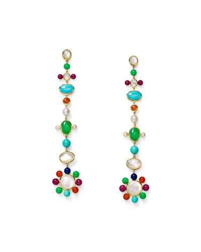 Nova 18k Pearl & Mixed-Stone Drop Earrings