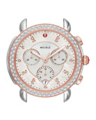 MICHELE 38mm Sidney Diamond Chronograph Watch Head, Rose/Silver