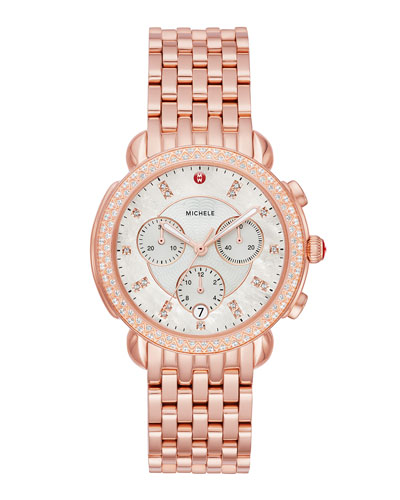 38mm Sidney Diamond Chronograph Watch, Rose Gold