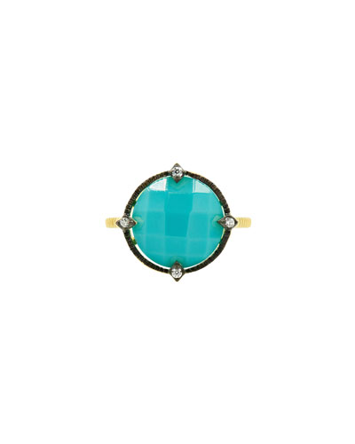 Color Theory Round Cocktail Ring - Turquoise, Size 8