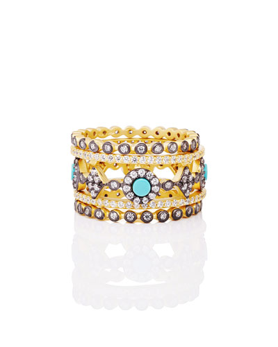 Color Theory 5-Piece Stacking Ring Set - Turquoise, Size 7
