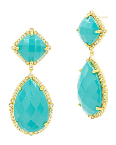 Color Theory Double-Drop Earrings, Turquoise