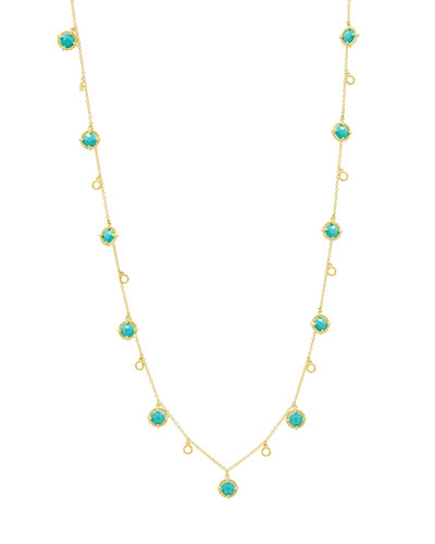 Color Theory Stone Droplet Necklace with Turquoise