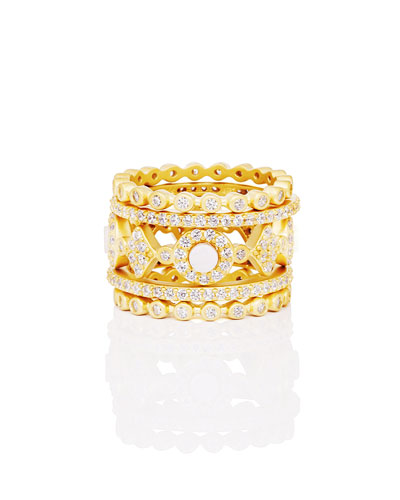 Color Theory 5-Piece Stacking Ring Set - Mother-of-Pearl, Size 7