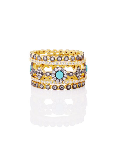 Color Theory 5-Piece Stacking Ring Set - Turquoise, Size 5