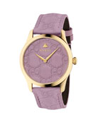 Gucci 38mm G-Timeless Logo Leather Watch, Purple