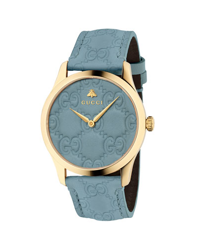 38mm G-Timeless Logo Leather Watch, Blue