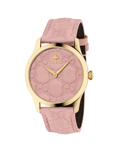 38mm G-Timeless Logo Leather Watch, Pink