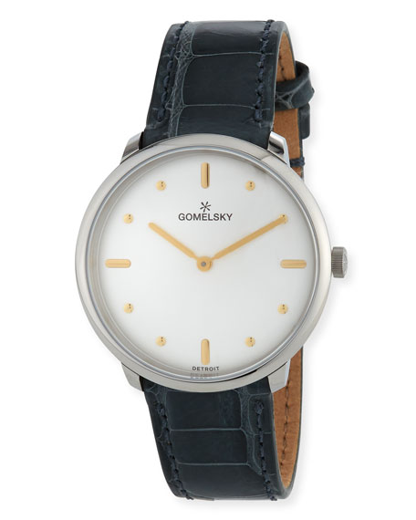 Gomelsky 36mm Audry Alligator Watch, Silver/Opaline