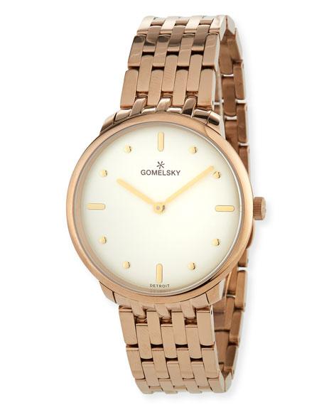 Gomelsky 36mm Audry Bracelet Watch, Champagne/Opaline