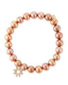 Sydney Evan 14k Diamond Flower & Pearl Bracelet