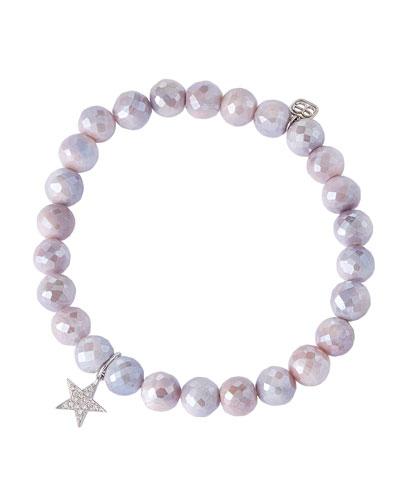 14k White Gold Diamond Star & Moonstone Bracelet