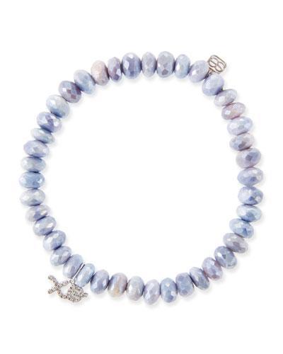 14k White Gold Diamond XO & Lavender Moonstone Bracelet