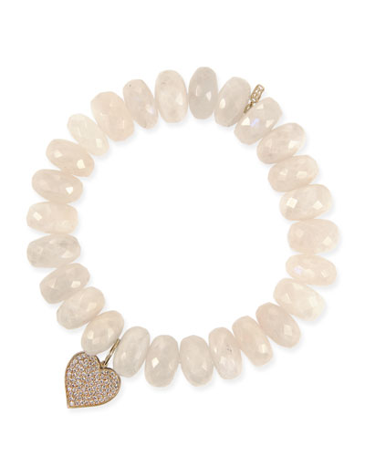 14k Diamond Heart & Moonstone Bracelet
