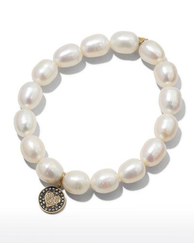 9mm Pearl & Diamond Heart Bracelet