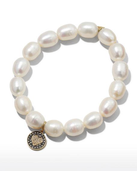 Sydney Evan 9mm Pearl & Diamond Heart Bracelet