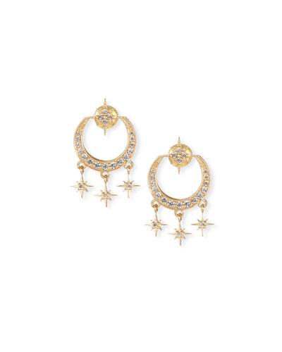 14k Gold Diamond Starburst Chandelier Earrings