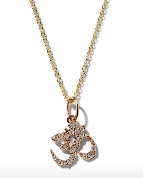 Sydney Evan 14k Gold Diamond OM Charm Necklace