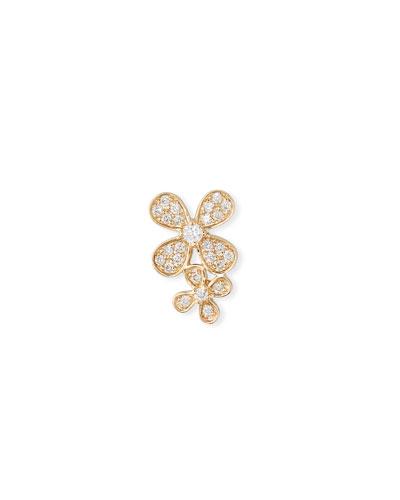 14k Gold Diamond Double Paisley Petal Stud Earring (Single)