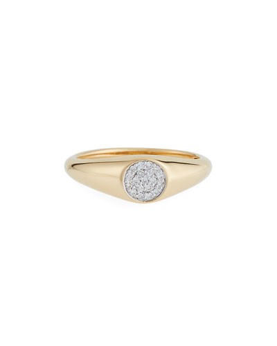14k Mini Diamond Signet Ring, Size 6.5