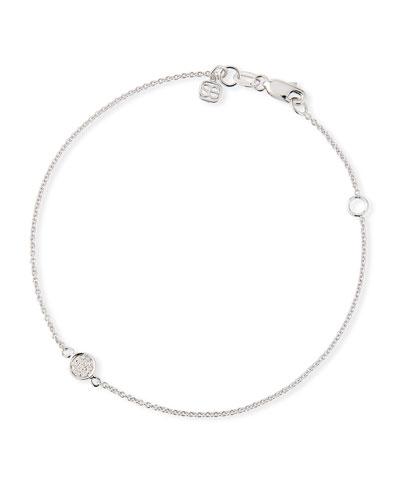 14k White Gold Diamond Baby Disc Bracelet