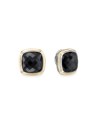 14mm Albion Stud Earrings w/ 18k Gold & Onyx