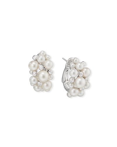 Large Pearl & Diamond Cluster Hoop Earrings