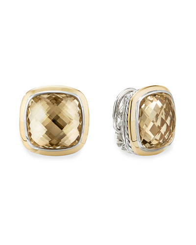 14mm Albion Stud Earrings w/ 18k Gold & Citrine