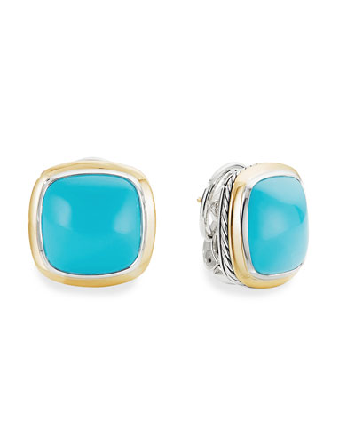 14mm Albion Stud Earrings w/ 18k Gold & Turquoise