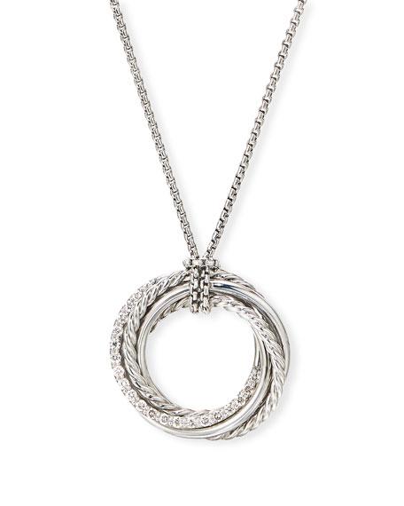 David Yurman DY Crossover Pendant Necklace w/ Diamonds