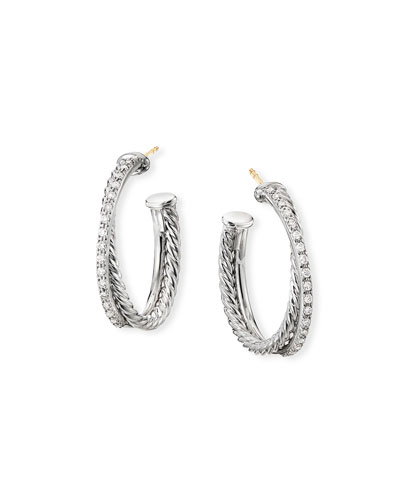DY Crossover Medium Hoop Earrings w/ Diamonds