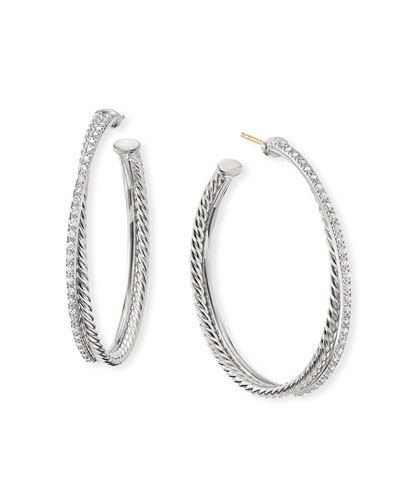 DY Crossover Extra-Large Hoop Earrings w/ Diamonds