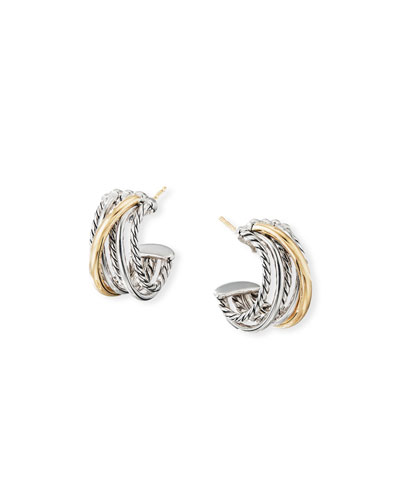DY Crossover Huggie Hoop Earrings w/ 18k Gold