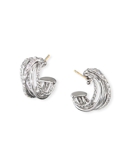 David Yurman DY Crossover Huggie Hoop Earrings w/ Diamonds