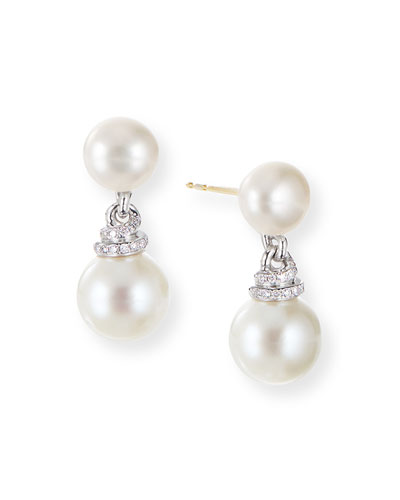 Continua Pearl-Drop Earrings w/ Diamonds