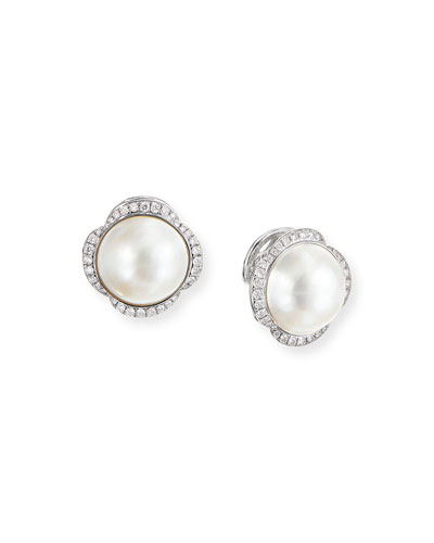 Continuance 13.5mm Pearl Earrings w/ Diamonds