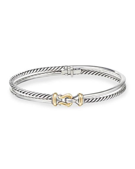 David Yurman Two Row Buckle Bracelet, 18K Gold