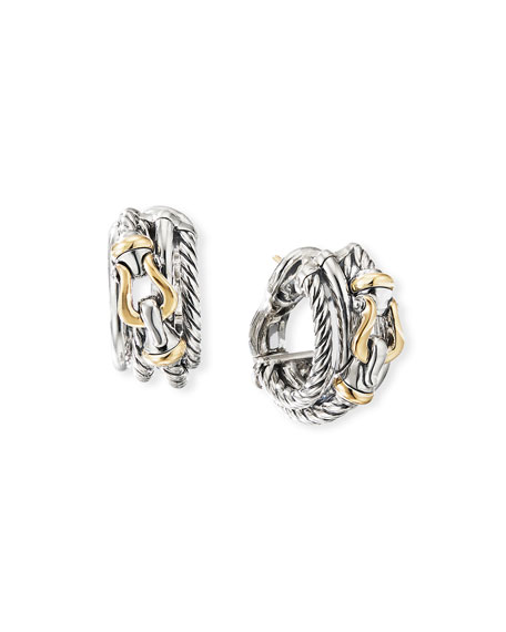 David Yurman DY Crossover Buckle Shrimp Earrings w/ 18k Gold