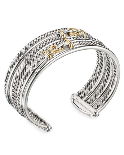 DY Buckle Crossover Cuff Bracelet w/ 18k Gold