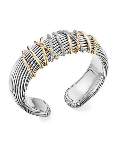 David Yurman Helena Cuff Bracelet w/ 18k Gold & Diamonds