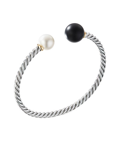 Solari XL Cable Bracelet with Black Onyx, Gold Dome and 14K Yellow Gold