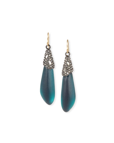 Crystal Encrusted Capped Wire Earrings, Blue