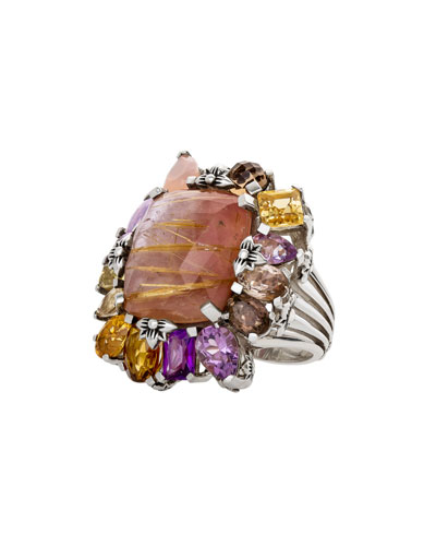 Multi-Stone Cluster Ring, Light Pink