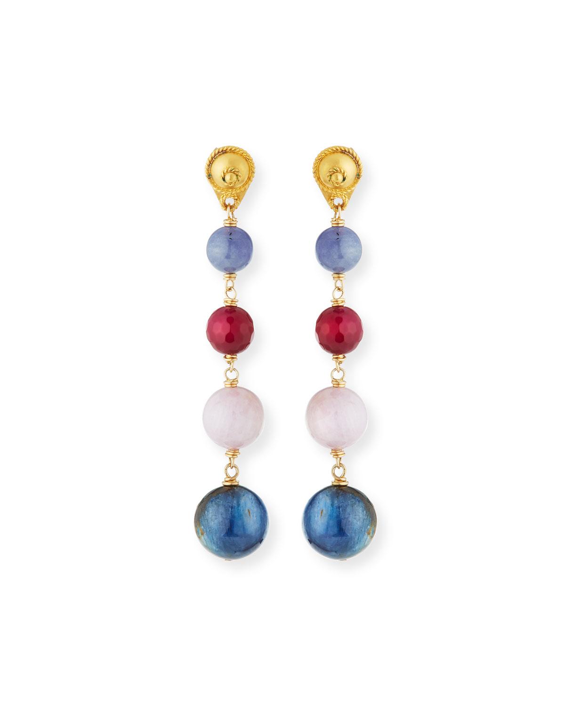 DINA MACKNEY Multi-Ball Drop Earrings in Purple