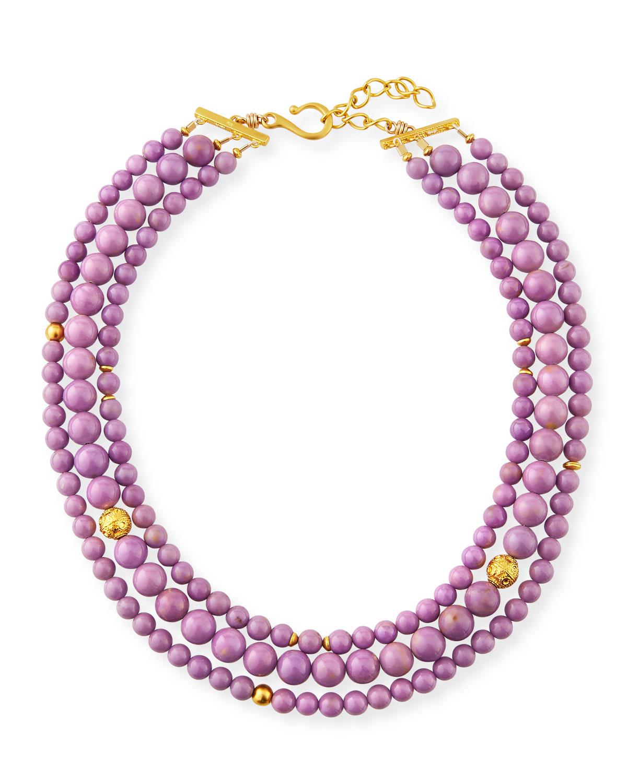 DINA MACKNEY 3-Strand Phosphosiderite Necklace in Purple