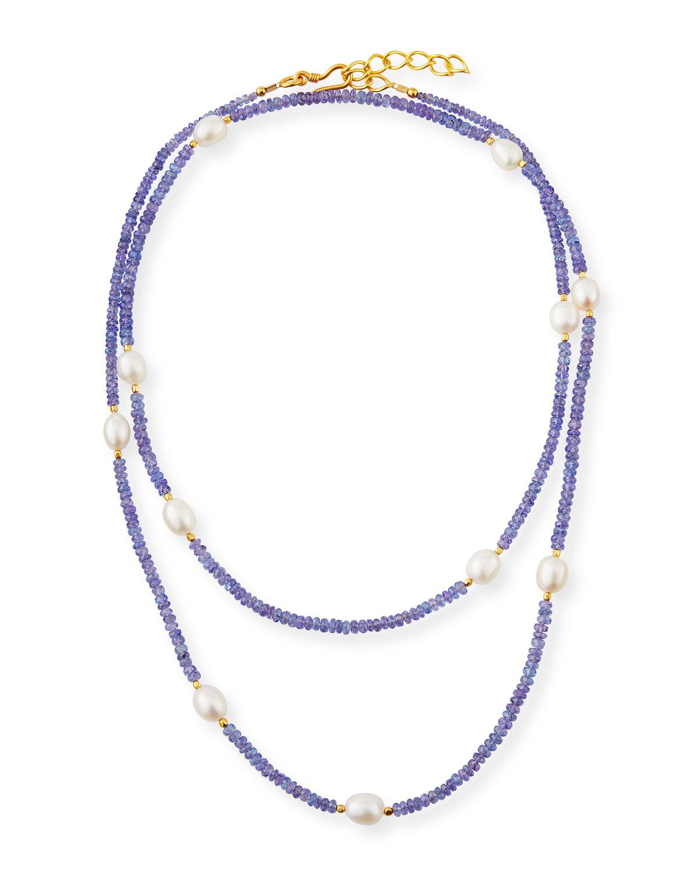 DINA MACKNEY Long Pearl & Tanzanite Necklace in Purple