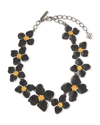 Painted Flower Collar Necklace