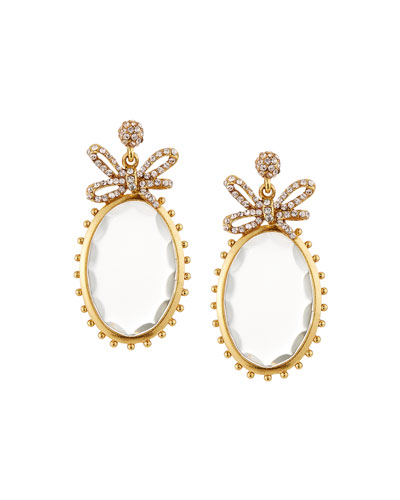 Runway Large Pave Bow & Pearly Earrings