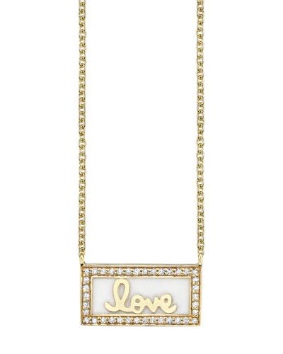 14k Gold Love Bar Necklace w/ Enamel & Diamonds
